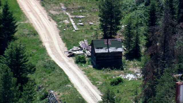 Granite Ghost Town And Mine Workings  - Aerial View - Montana,  Granite County,  helicopter filming,  aerial video,  cineflex,  establishing shot,  United States video
