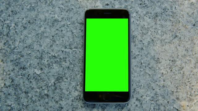 Granite stone smart phone mobile green screen chromakey video
