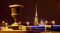 Granite vase, night Neva bank against Palace Bridge and Peter and Paul Fortress video
