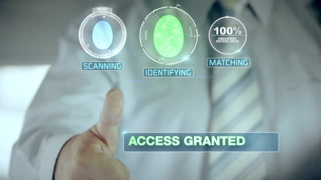 Granted and Businessman passing biometric verification with fingerprint scanner video