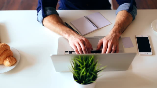 Graphic designer working at laptop video