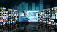 CG graphic montage video wall of business managers working video