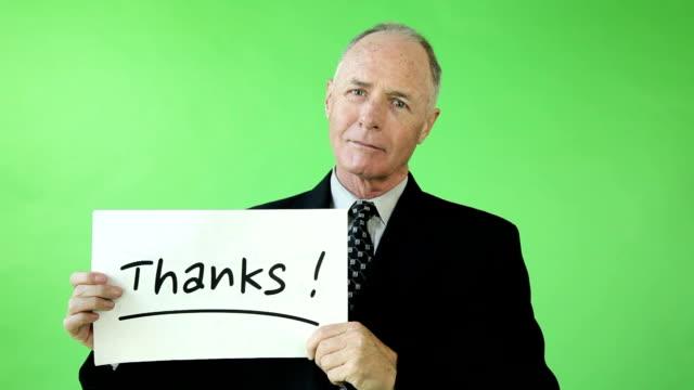 grateful Senior with thanks sign video