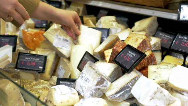 Great assortment of cheese in the shop video