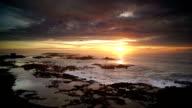 Great sunset view of Atlantic ocean at Essouira, Morocco video