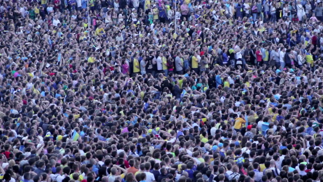 Great unrecognizable crowd of many soccer football fans video