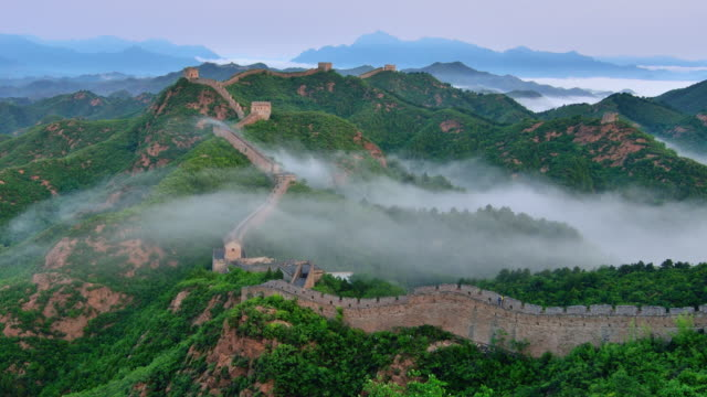 Great wall of China at stratosphere fog, Sunrise To day Time Lapse video