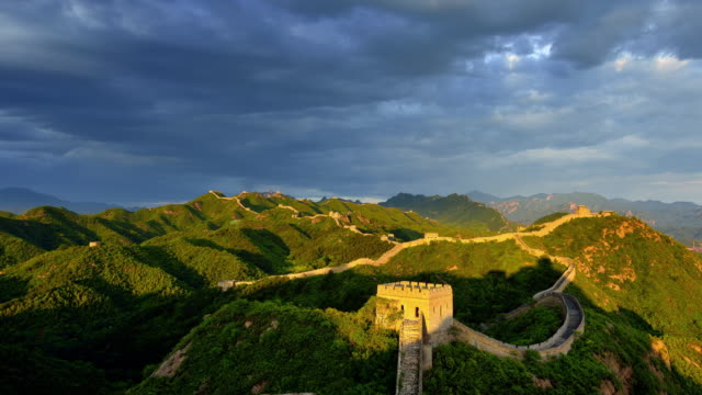 Great Wall Of China, day to sunset time lapse video