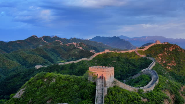 Great Wall Of China, day to sunset time lapse, Zoom In video