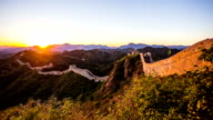 great wall with sunset,time lapse video