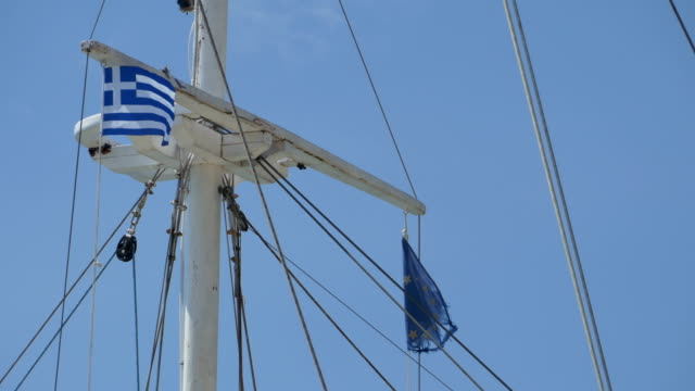Greece and EU Flags on Mast video