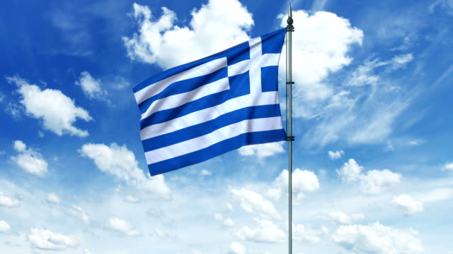Greece flag animation, alpha channel video