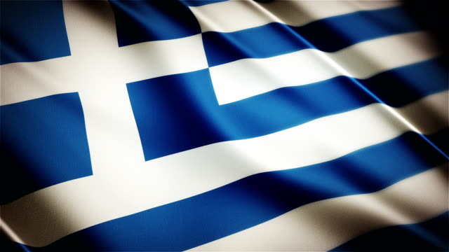 Greece realistic national flag seamless looped waving animation video