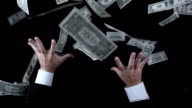 Greedy Businessman Catching Money (Super Slow Motion) video