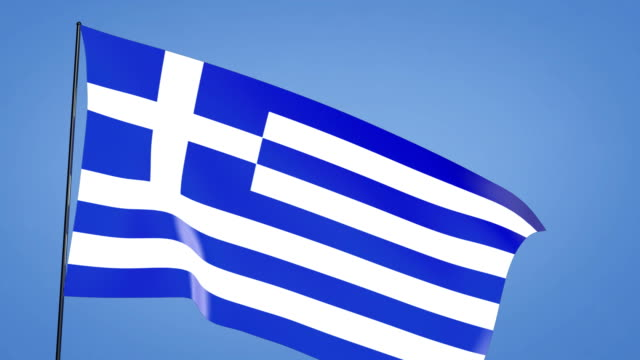 greek flag blue sky video