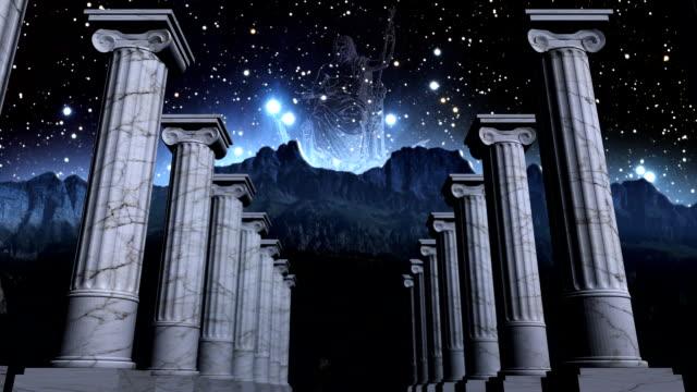 Greek pillars in cosmic scene video