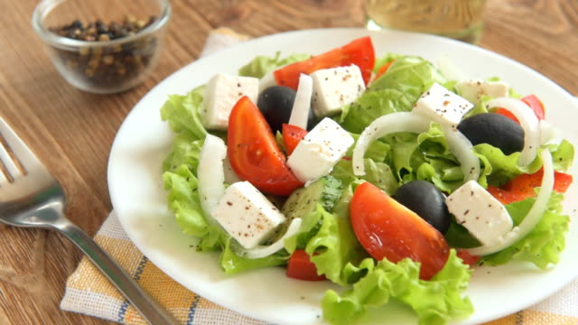Greek salad with fresh vegetables video