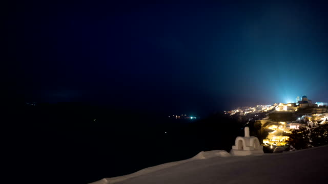 Greek Santorini Caldera Timelapse from Night to Dawn video