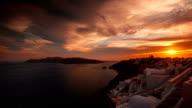 Greek Santorini Caldera Timelapse from Sunset to Night Time video