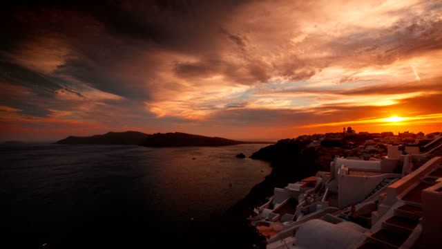 Greek Santorini Caldera Timelapse from Sunset to Night Time video