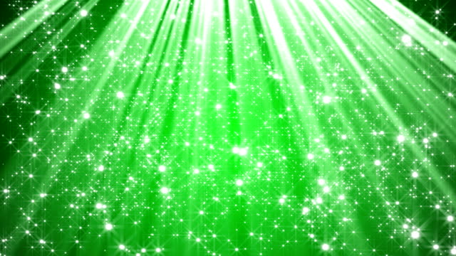 Green abstract background with stars and light rays video