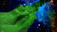 Green alien in space video
