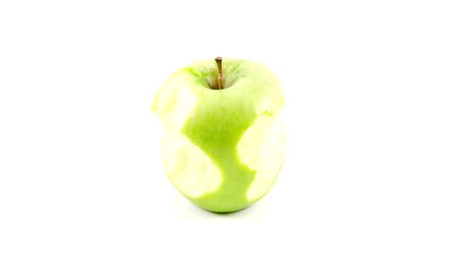 Green Apple eaten stop motion animation video