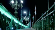 Green Bridge central Budapest by Night video