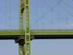 Green bridge w/passing blue truck. video