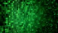 green digital binary data close-up shallow DOF loop video