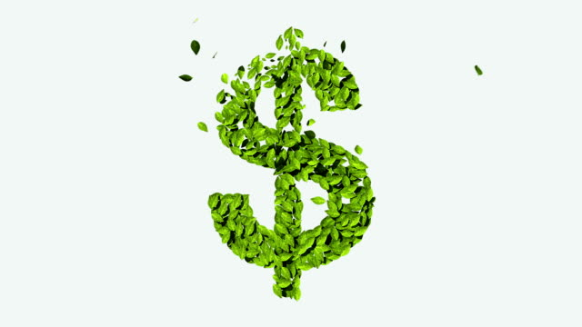 Green dollar money, currency sign, made from leaves video