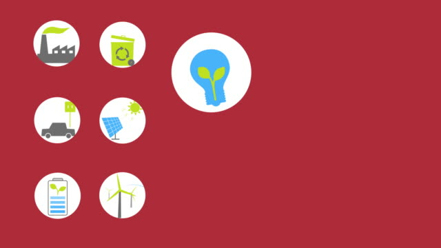 Green energy animated icons and background for your presentation or movie. Space for text on the right, Loop from 15 second. video