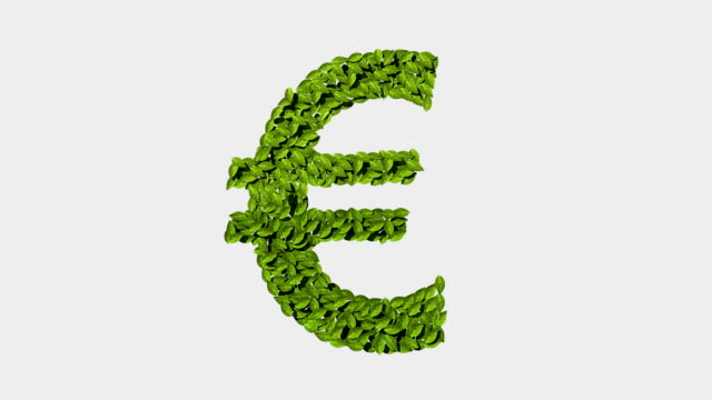 Green euro money, currency sign, made from leaves video