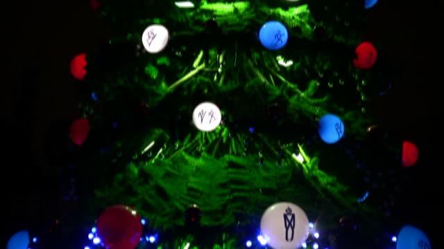Green fir tree with ball video