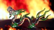 Green glass dragon fire video
