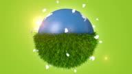 Green Grass Covering Half Of Orbiting Blue Globe video