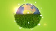 Green Grass Covering Half Of Orbiting Globe video