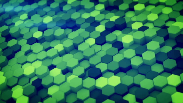 Green hexagon pattern 3D render loopable animation video