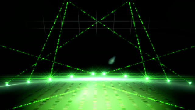 Green laser show on black background video