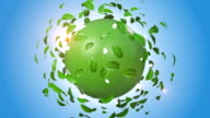 Green Leaves Rotating Around Orbiting Earth video