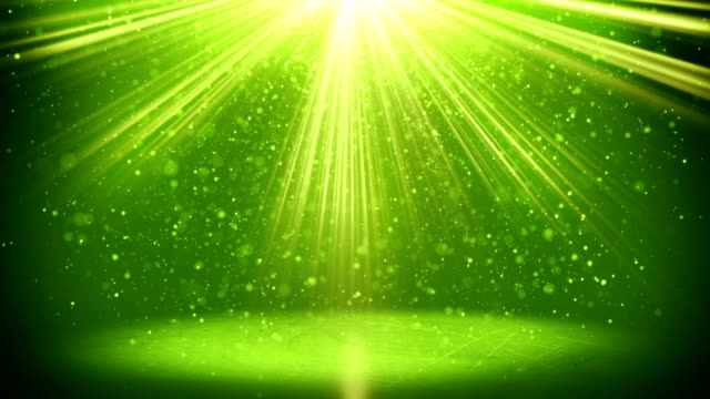 green light beams and particles loopable background video