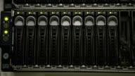 Green lights blinking on servers video
