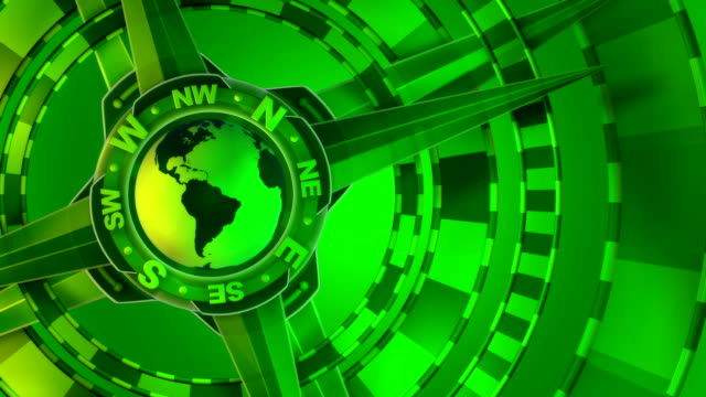 Green, Loopable, Global Compass Rose with World and Cardinal Points video