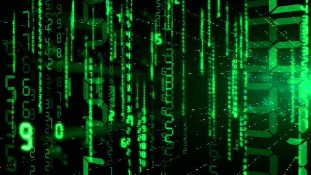 Green Numbers in Digital Code falling in rays of flashing light . Looped 3d animation. HD 1080. video