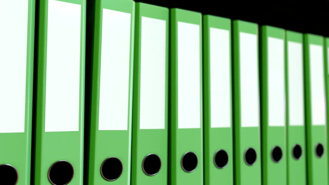 Green office binders. Seamless loop FullHD animation video