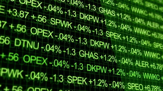 Green Ominous Stock Market Ticker in futuristic environment video