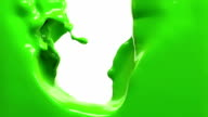 green paint fills up screen, slow motion, isolated on white with alpha cannel video