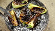 Green paprika on barbecue video