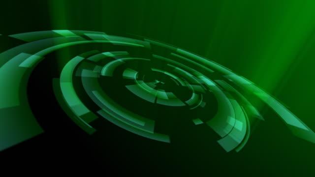 Green rotating concentric circles. Loopable between 6:00 and 18:00 video