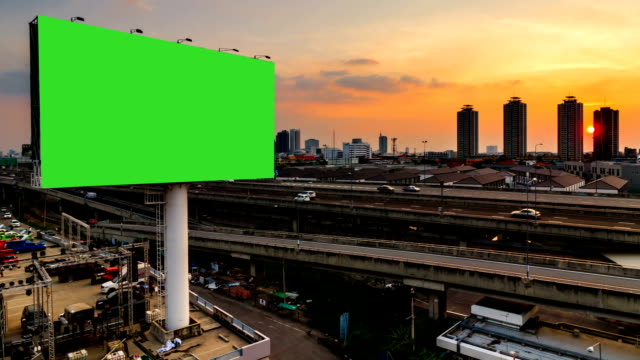 green screen advertising billborad on the road at twilight night video